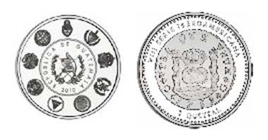 A replica of the first orbicular or circular coin that was minted in Guatemala after 1754.
