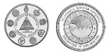 This coin reproduces Nicaragua's first coins minted in the cordoba currency in 1912.