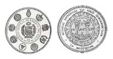 This reproduces the reverse of the first coin struck at the Mint of Lima in 1568.