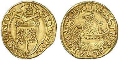 Sixtus IV. 1471-1484. Fiorino di camera n.d. Rev. Saint Peter as fisherman. From auction Künker 171 (2010), 5221.