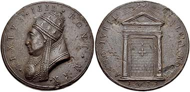 Sixtus IV. 1471-1484. Bronze medal. Rev. The Holy Door. From auction CNG Electronic Auction 210 (2009), 352.