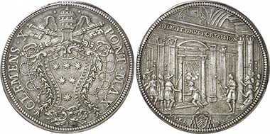Clement X, 1670-1676. Piaster 1675. From auction Gorny & Mosch 192 (2010), 3831.