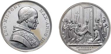 Leo XII, 1823-1829. Medal 1825 on the opening of the Holy Door. From auction Tkalec (May 7, 2008), 689.
