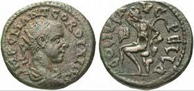 Pella. Gordian III. Bronze. Rv. COL IVL AVG PELLA Pan n. l. thronend. Aus Auktion Münzen und Medaillen GmbH 13 (2003), 93.