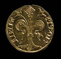 Fiorino d'oro, 1252-1303 - 2.03 cm - 3.4 g - Obverse: the Florentine lily, reverse: St. John the Baptist, Florence's patron saint. Florence, Museo Nazionale del Bargello, Coins inv. no. 117.