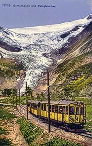 Der Palügletscher ca. 1910 mit der Berninabahn. Nachkolorierte Postkarte vom Verlag Wehrli, Kilchberg