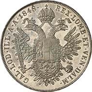 Konventionstaler 1848 A, Wien. J. 290. Aus Auktion Künker 195 (28. September 2011), 4393. Fast Stempelglanz. Schätzung: 5.000 Euro. - Die höchst seltenen Prägungen - man kennt je 10 Stück mit den Jahreszahlen 1848, 1849, 1850, 1851 und 1852 - mit dem Porträt des Kaisers nach links wurden alle im Jahr 1852 als Proben geprägt. Da dem Kaiser sein Porträt nicht gefiel, kam dieser Typ nicht zur Ausprägung. Die Münzen gingen an den Kaiser, öffentliche Münzkabinette und hochgestellte Privatpersonen.