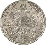 Gulden 1867 E, Karlsburg. J. 335a. Aus Auktion Künker 195 (28. September 2011), 4536. Vorzüglich bis Stempelglanz. Schätzung: 20.000 Euro. - Diese Prägung des siebenbürgischen Karlsburgs (Alba Iulia) ist die seltenste Silbermünze der Guldenwährung.