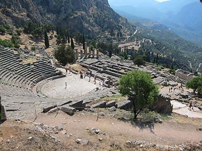 Delphi - view from the theater to temple and treasuries. Photograph: KW.