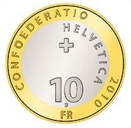 Schweizerischer Nationalpark - Murmeltier - Nennwert: 10 CHF - Legierung: Bimetall (Kupfer-Nickel und Aluminiumbronze) - Gewicht: 15 g - Durchmesser: 33 mm - Auflage: unzirkuliert max. 94.000, PP max. 12.000.