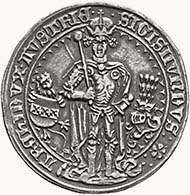 Archduke Sigismund of Tyrol. Guldiner 1486, Hall, moneyer: Bernhard Beheim the Older, die cutter Wenzel Kröndl. From sale LHS 95 (2005), 267.