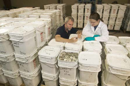 Odyssey co-founder Greg Stemm examines one of more than 500,000 coins recovered from the