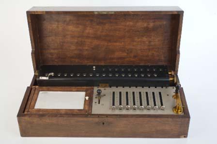 Rechenmaschine mit Schaltklinkenprinzip des Wiener Uhrmachers Friedrich Weiss, 1893.
