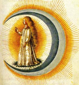 In most ancient societies the moon was regarded as female and symbolic of fecundity. Source: from the wedding book Le nozze di Costantio Sforza e Camilla d'Aragona, 1480.