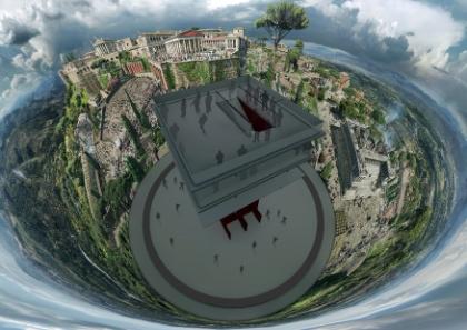 Innenrund im Pergamonpanorama aus der Vogelperspektive, Visualisierung 2011. © asisi.