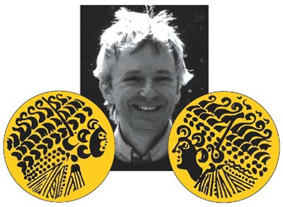 John Sills, researcher on Celtic coins and convenor of Oxford conference, with his die drawings of two Gallo-Belgic Broad Flan gold staters, ABC 1 and 4, c. 175-120 BC. Photo: John Sills.