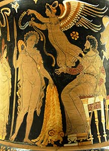 Jason takes the Golden Fleece to Pelias. Louvre, calyx krater 340-330 B. C. Source: Wikipedia.