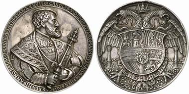 Charles V. Cast silver medal after H. Reinhart. Half-length portrait with the Order of the Golden Fleece. Rev. double eagle with coat of arms. From auction Künker 189 (2011), 1570.