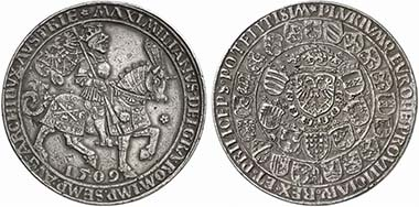 Maximilian I. Schauguldiner 1509, minted in 1517 in Antwerp on the assumption of the imperial title. Cuirassed emperor riding r. Rev. Crowned coat of arms, sorrounded by other coats of arms, around the inner one chain of the Order of the Golden Fleece. From auction Künker 188 (2011), 577.