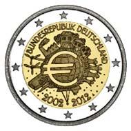 Die 2-Euro-Gedenkmünze '10 Jahre Euro-Bargeld' der Bundesrepublik Deutschland.
