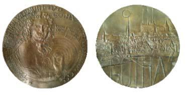 Jubiläumsmedaille von Peter G. Güttler, Dresden, zum 350. Geburtstag Wermuths, 2011, Weißmetallguss.