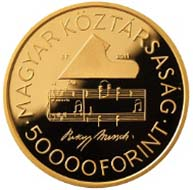 Hungary - 50000 HUF - 986 gold - 6.982 g - 22 mm - Mintage: 5,000 pieces.