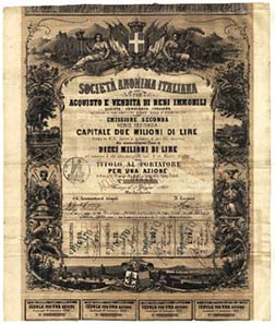 Echoes of the classical antiquity promise success on this security certificate of 1869.