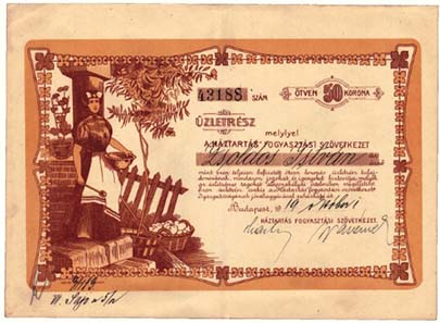 A housewife on a certificate issued by the Hungarian 'Household' General Consumer Cooperative.