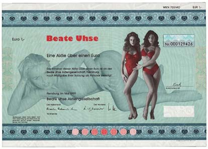 Beate Uhse floated her sex shop on the Frankfurt stock Exchange at the age of 80. On the share certificate you can see only her signature.