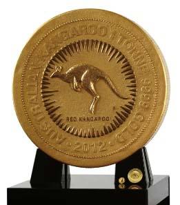 Die eine Tonne schwere Goldmünze lässt die 1-Kilo-Münze und die 1oz-Münze des 2012 Australian Kangaroo Gold Bullion Coin Program wie Zwerge aussehen.