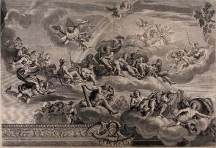Jean-Baptiste de Poilly (Paris 1669-1728 Paris) nach Pierre Mignard (Troyes 1612-1695 Paris), Götterversammlung. Kupferstich, 57,8 x 83,1 cm. © Landesmuseum Hannover.