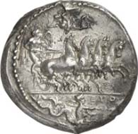 No. 91: GREEKS. Syracuse (Sicily). Tetradrachm, c. 415 - 409 B. C. Quadriga galloping r. whose winged rider is crowned by Nike. In the exergue Skylla and the signature EUTH. Rev.: Head of Arethusa surrounded by four dolphins. Below the artist's signature PHRYGILL/OS. Tudeer 47; Franke-Hirmer 37. Extremely fine. Estimated: 80,500 EUR.