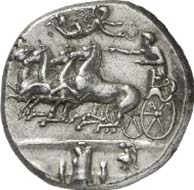 No. 96: GREEKS. Syracuse (Sicily). Dekadrachm, about 400 B. C. Charioteer in quadriga galloping l., crowned by Nike, in the exergue armour. Rev.: Head of Arethusa surrounded by four dolphins. Below [E]U[AINETOS]. Gallatin C XIV / R VI. Rare. Extremely fine. Estimated: 69,000 EUR.