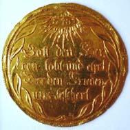 Sachsen-Gotha, Ernst I. der Fromme (1640-1675), Abschlag vom Friedenstaler 1650 zu 10 Dukaten, Prägung, Gold, 46 mm. Foto: Wolfgang Steguweit.