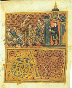 Wenceslas' assassination: the duke flees from his brother (with sword) to a church, but the priest closes the door, Gumpold von Mantua, 10th century. Wolfenbüttel, Herzog August Bibliothek, Guelf. 11,2 Augusteus 4, fol. 21r. Source: Wikipedia.