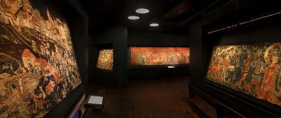 The tapestries in the exhibition. Photo: HMB Philipp Emmel.