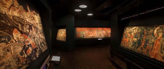 Die Bildteppiche der Ausstellung. Foto: HMB Philipp Emmel.