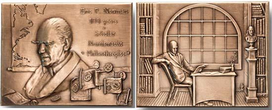 The Eric P. Newman Medal. 2.40 x 3.44 in. (60.7 x 87.3 mm) - Bronze, 198.2 g. Also available as Silver (.999 FS), 226.3 g.