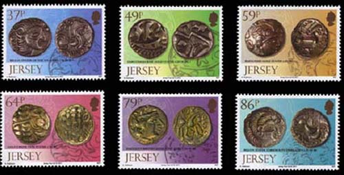 New stamps with coins from Le Catillon hoard, Jersey, 1957, mostly minted around time of Gallic War, c.60-50 BC, possibly by chieftain in Jersey (37p), by Durotriges in Dorset (49p), by Baiocasses in Calvados (59p), by Belgae in Hampshire (64p), by Regini in Sussex (79p) and by Coriosolites in Côtes-d'Armor (86p). Source: Jersey Post.