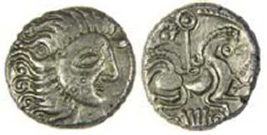 Jersey Moon Head base-silver stater, DT 2276, c. 60-56 BC. Lunate head has three-ring tattoo on cheek. Horse has sun-sceptre above, lyre-shape below. La Hougue Bie Museum, Jersey. Source: Olga Finch, Jersey Heritage.