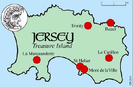 Eight iron age hoards totalling maybe 17,000-20,000 coins have been found in Jersey. And 'moon-head' staters were possibly struck in Jersey, says Dr Philip de Jersey. Map shows location of main hoard sites. Source: Chris Rudd.