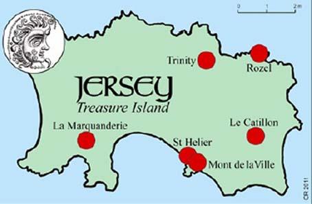 Auf Jersey wurden acht keltische Horte gefunden, die zusammen zwischen 17.000 und 20.000 Münzen enthielten. Und die sogenannten Mondkopfstatere wurden vermutlich in Jersey geprägt, meint Dr. Philip de Jersey. Die Karte zeigt die Orte der Hortfunde. Quelle: Chris Rudd.