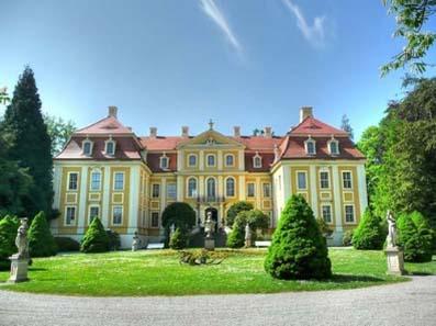 Blick auf das Barockschloss Rammenau.