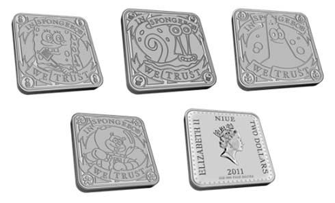 The four coins' oberverse designs and the reverse. Each coin's specifications are: Niue - $2 - 1oz 999 Silver - 35 x 35 mm - Mintage: 100,000 (per design).