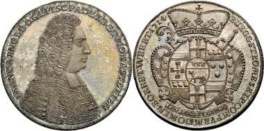 Nr. 3444: Franz Arnold von Wolf-Metternich, 1704-1718. Reichstaler 1714, Neuhaus, Schätzpreis 10.000/ Zuschlag 22.000.