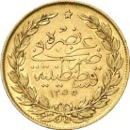 100 Kurush, Constantinople, 1255 H. (= 1845, since the monetary reform). Friedberg 18. From auction Künker 199 (December 12, 2011), no. 30. Estimate: 300 Euros.