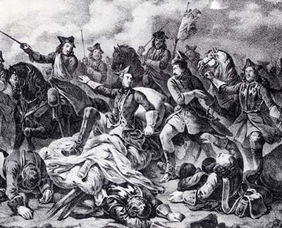 The wounded Charles XII is carried to the battlefield of Poltava on a stretcher.