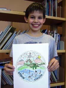 Der 10-jährige Philip Ogris mit seiner Siegerarbeit. Foto: VS St. Margareten im Rosental.