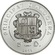 Fürstentum Andorra - 5 Diner - 925 Silber - 25,00 g - 38,61 mm - Auflage: 2.500.