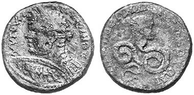 Nicomedeia (Bithynia), Caracalla, 197-217. AE. Rev. Snake with human head Glycon in an upright position, in several windings, to the right. RG II, p. 545, - (cf. 225). From auction Numismatik Lanz, Munich 114 (2003), no. 507.